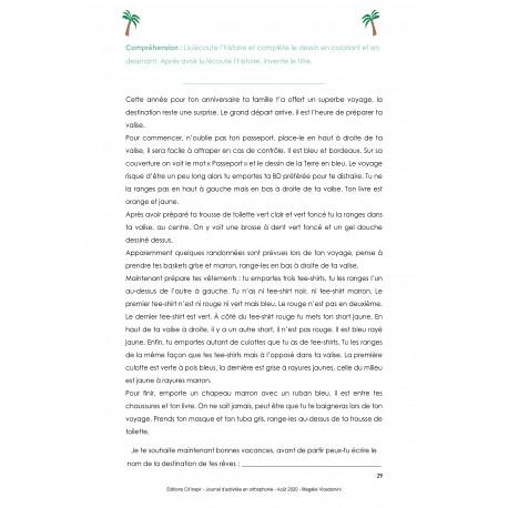 Journal d'activités en orthophonie - Août