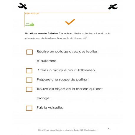 //PDF// Journal d'activités en orthophonie - Octobre