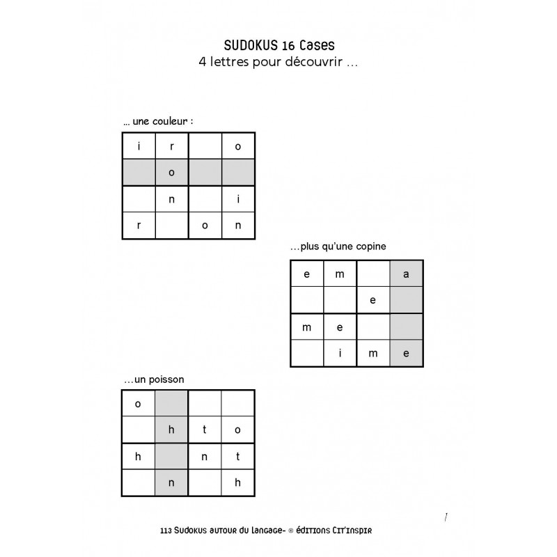 113 sudokus autour du langage